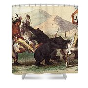 Native American Indian Bear Hunt, 19th Shower Curtain