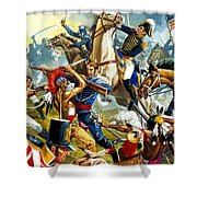 Native American Indians Vs American Soldiers Shower Curtain