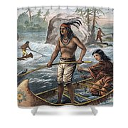 Native Americans/fishing Shower Curtain