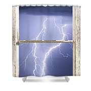 Nature Strikes White Rustic Barn Picture Window Frame Photo Art Shower Curtain