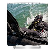 Navy Diver Dives Into San Diego Bay Shower Curtain