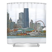Navy Pier And Vicinity Shower Curtain