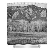 Ncar And Flatiron View Boulder Colorado Bw Shower Curtain