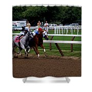 Neck And Neck At Saratoga Two Shower Curtain