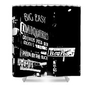 Neon Sign Bourbon Street Corner French Quarter New Orleans Black And White Conte Crayon Digital Art Shower Curtain