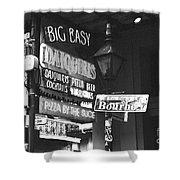 Neon Sign On Bourbon Street Corner French Quarter New Orleans Black And White Film Grain Digital Art Shower Curtain