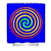 Neon Spiral Blue Shower Curtain