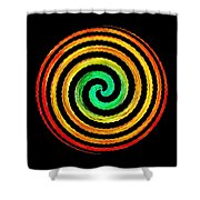 Neon Spiral Shower Curtain