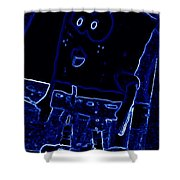 Neon Sponge Bob Shower Curtain