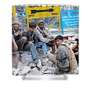 Nepali Labourers At Devraprayag Shower Curtain