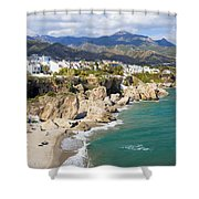 Nerja Town On Costa Del Sol In Spain Shower Curtain