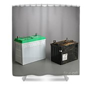 New & Old Automotive Battery Shower Curtain