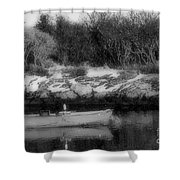 New England Skiff Bw Shower Curtain