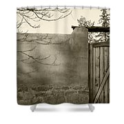 New Mexico Series - Doorway II Black And White Shower Curtain