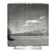 New Mexico Series - The Long View Black And White Shower Curtain