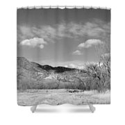 New Mexico Series - Winter Desert Beauty Black And White Shower Curtain