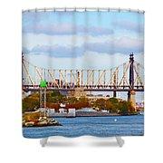 New York Bridge Water View Shower Curtain