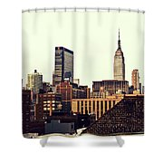 New York City Rooftops And The Empire State Building Shower Curtain