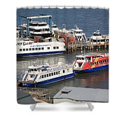 New York City Sightseeing Boats Shower Curtain