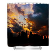 New York City Skyline At Sunset Under Clouds Shower Curtain