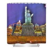 New York In Las Vegas Shower Curtain by Nicholas  Grunas