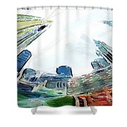 New York Looking Up The Sky Shower Curtain