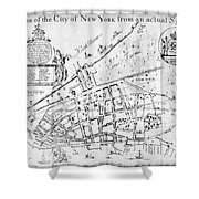 New York Map, 1730 Shower Curtain