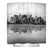 New York Skyline Reflected Shower Curtain