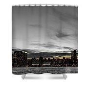 New Yorks Skyline At Night Colorkey Shower Curtain
