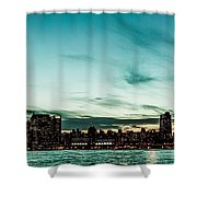 New Yorks Skyline At Night Ice 1 Shower Curtain by Hannes Cmarits
