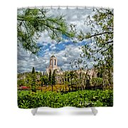 Newport Beach Temple Pine Shower Curtain