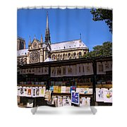 Newstand Next To Notre Dame Shower Curtain