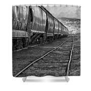 Next Tracks In Black And White Shower Curtain