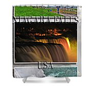 Niagara Falls Usa Triptych Series With Text Shower Curtain