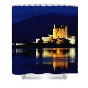 Night Falls On Eilean Donan Castle - D002114 Shower Curtain