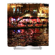Night Glow On River Walk Shower Curtain