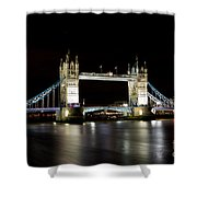Night Image Of The River Thames And Tower Bridge Shower Curtain