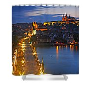 Night Lights Of Charles Bridge Or Shower Curtain by Trish Punch