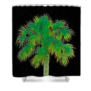 Night Of The Green Palm Shower Curtain