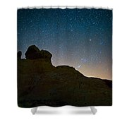 Night Sky Over Valley Of Fire Shower Curtain