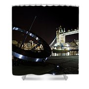 Night View Of The Thames Riverbank Shower Curtain