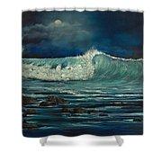 Night Wave Shower Curtain