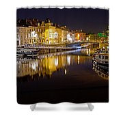 Nighttime Along The River Leie Shower Curtain