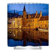 Nighttime Brugge Shower Curtain