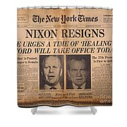 Nixon Resigns: Newspaper Shower Curtain