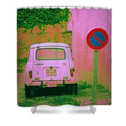 No Parking Sign With Pink Car Shower Curtain