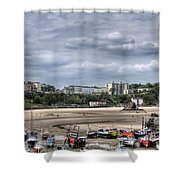 North Beach From Tenby Harbour Shower Curtain