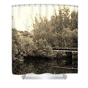 North Fork River In Sepia Shower Curtain