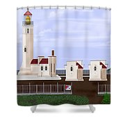 North Head Lighthouse Original Structures Shower Curtain