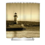 North Pier Lighthouse Shower Curtain